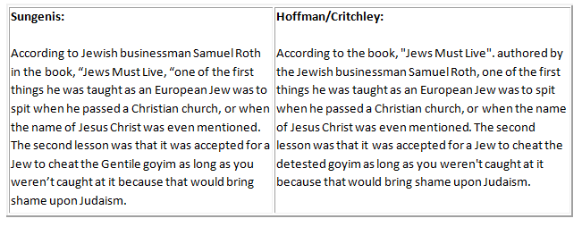 Sungenis Plagiarizing Hoffman-Critchley