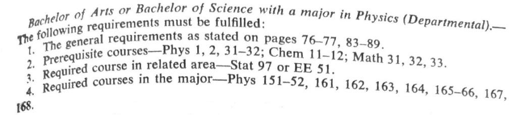 GWU 1975 Physics Degree Requirements
