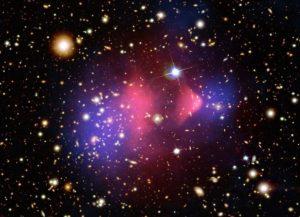 Image composite credit: X-ray: NASA / CXC / CfA / M.Markevitch et al.; Optical: NASA / STScI; Magellan / U.Arizona / D.Clowe et al.; Lensing Map: NASA / STScI; ESO WFI; Magellan / U.Arizona / D.Clowe et al.