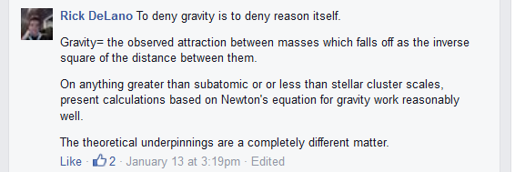 DeLano, To Deny Gravity is to Deny Reason Itself